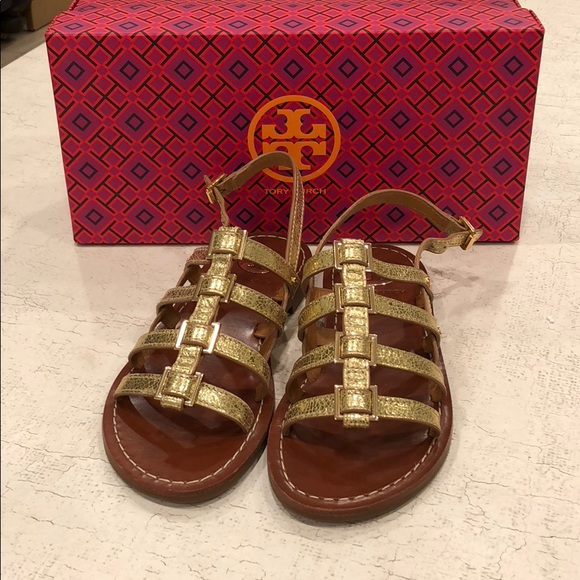 bced625184a1 Gold Tory Burch gladiator sandals. Size 5.5